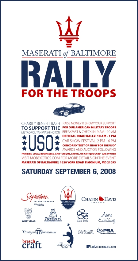 Maserati of Baltimore Rally for the Troops Exotic Car Show T-shirt Art